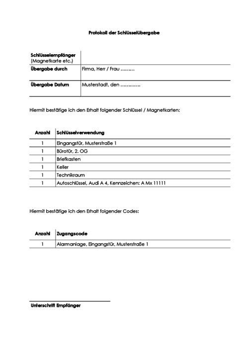 Schlusselubergabeprotokoll Kostenlose Vorlagen 15