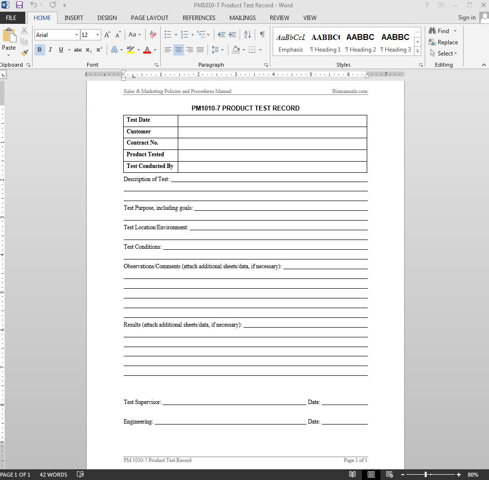 microsoft word test template