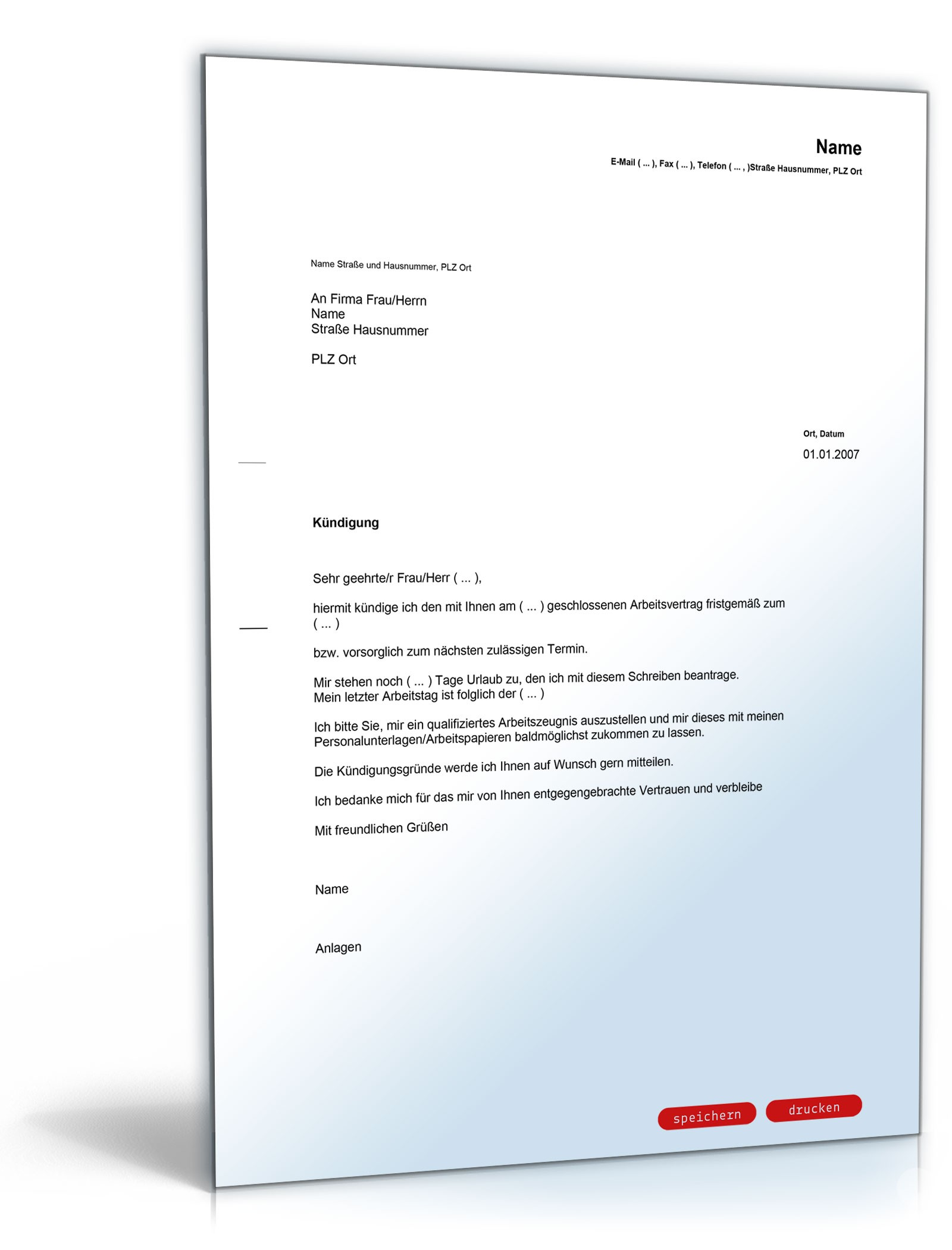 Kündigungsschreiben Arbeitnehmer Vorlage Kostenlos Word Kebut