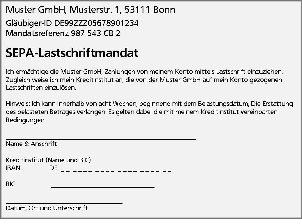 Sepa Lastschriftmandat Verein Muster Word Kebut