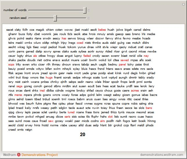 Word generator from letters