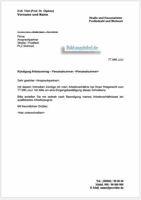super kndigung arbeitsvertrag muster arbeitnehmer kq85 2018 07 13 0350 - Kundigung Arbeitsvertrag Muster
