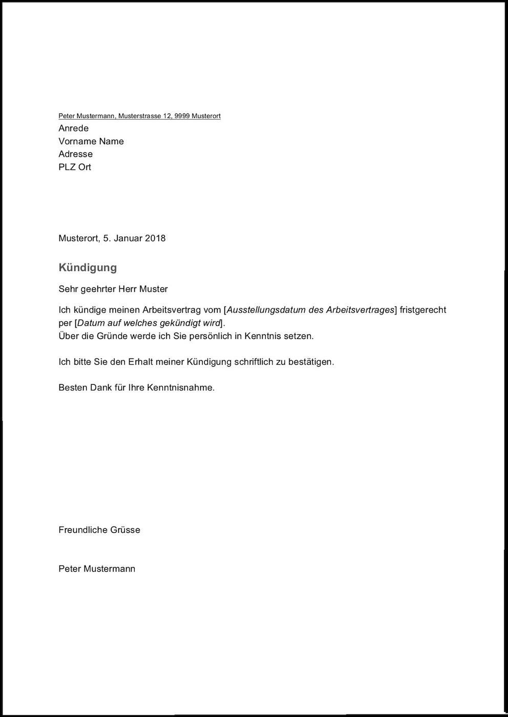 Kündigung Arbeitsvertrag Vorlage Word Kebut
