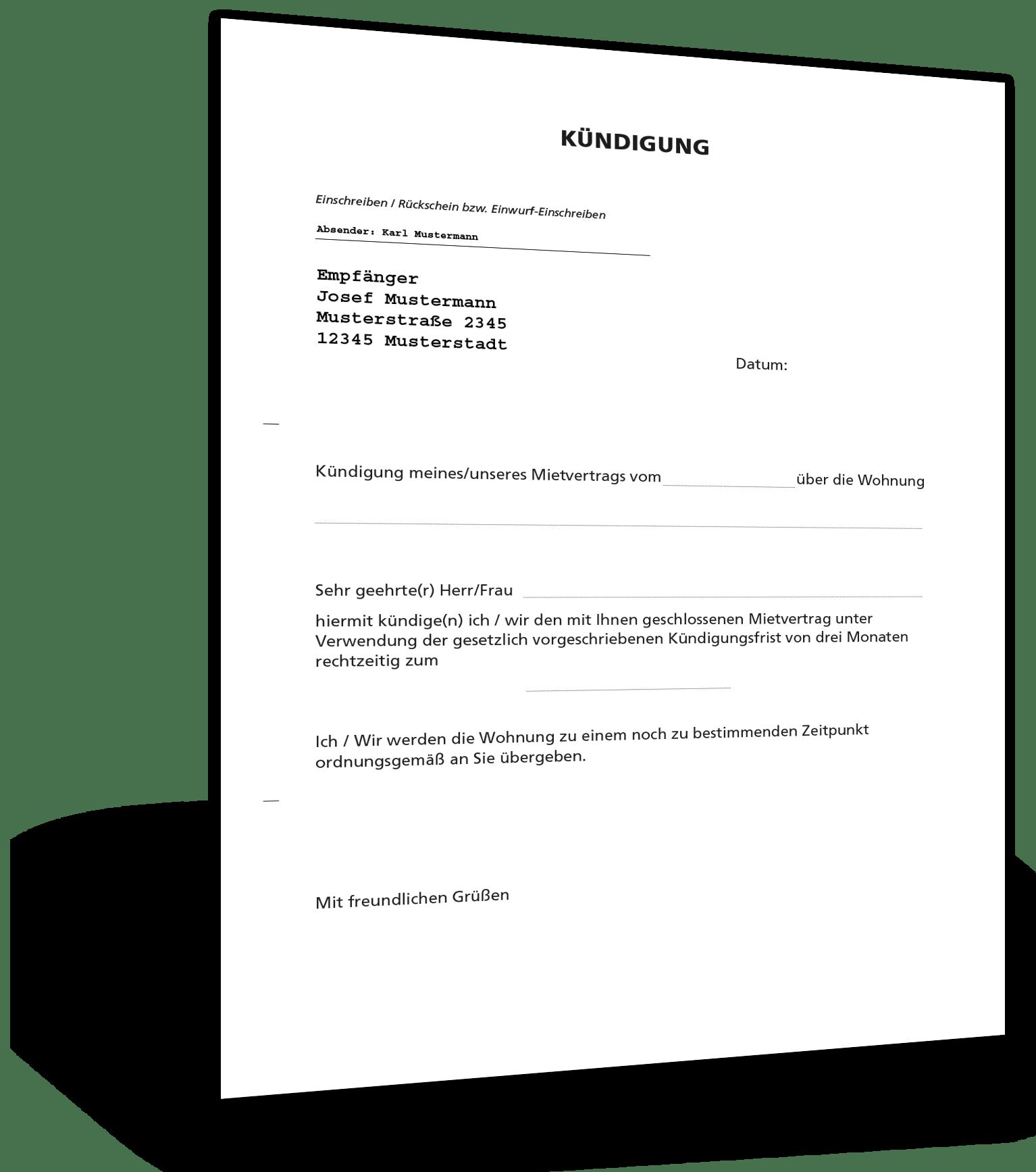Kundigung Mietvertrag Musterbrief Kebut